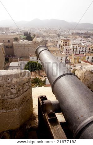 cannon from Ibiza island castle high view from dalt vila in balearic islands Spain