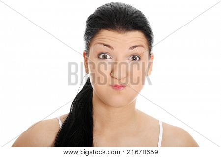 Young woman with hiccup, isolated on white