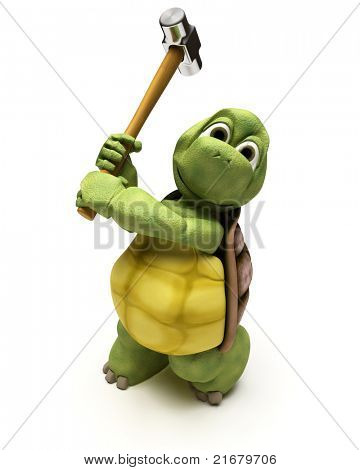 3D render of a Tortoise with a sledge hammer