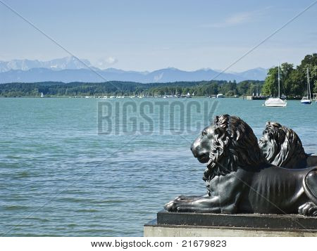 Lions at lake Starnberg Tutzing Bavaria Germany