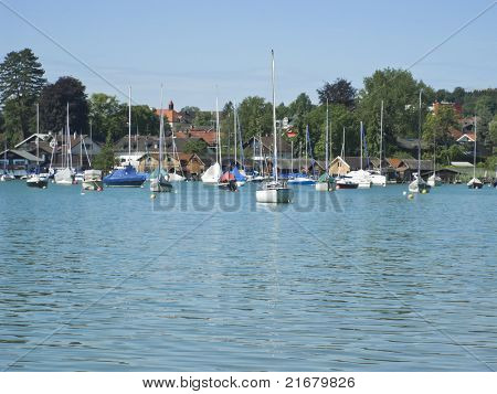 boats in the lake Starnberg in Tutzing Bavaria Germany