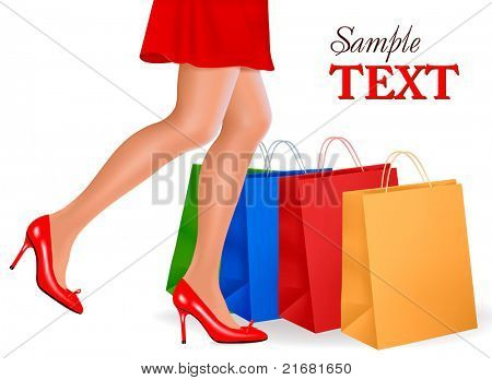 Waist-down view of shopping woman wearing red high heel shoes and carrying shopping bags. Vector illustration.