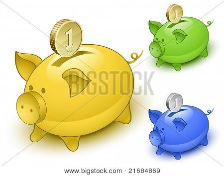 Piggy bank set. Save money concept. Vector illustration