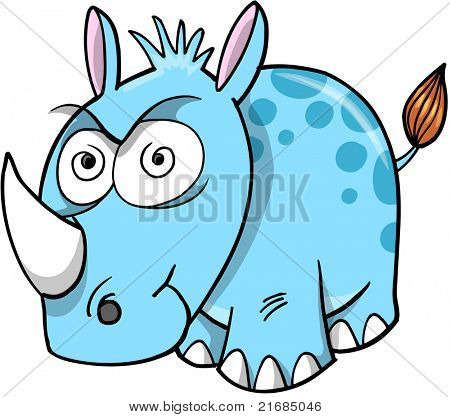 Crazy Insane Rhinoceros Vector Illustration