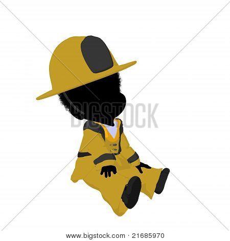 Little African American Firefighter Girl Illustration Silhouette