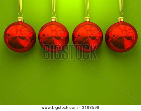 Red Christmas Balls On Green Background 3D Rendering