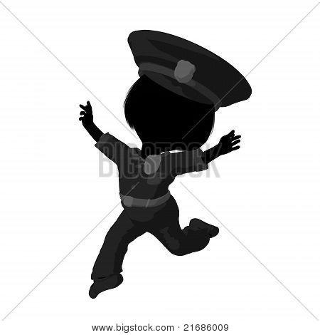 Little Police Girl Illustration Silhouette
