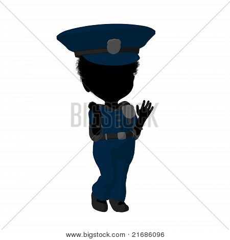 Little African American Police Girl Illustration Silhouette