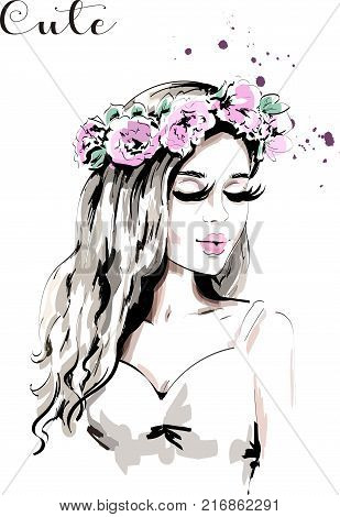 Beautiful Young Woman With Flower Wreath In Her Hair Hand Drawn Woman Portrait With Curly Hair Cute Girl Sketch Poster