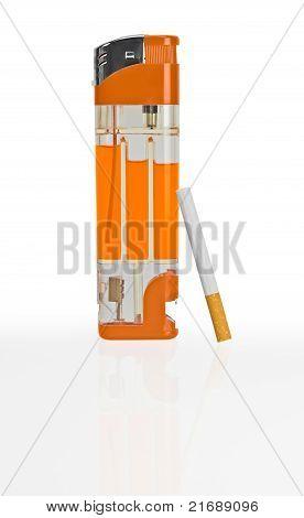 Big Lighter And Cigarette.