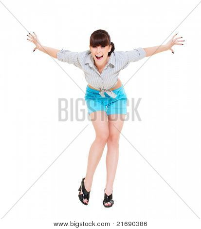 portrait of very happy woman with her raised arms