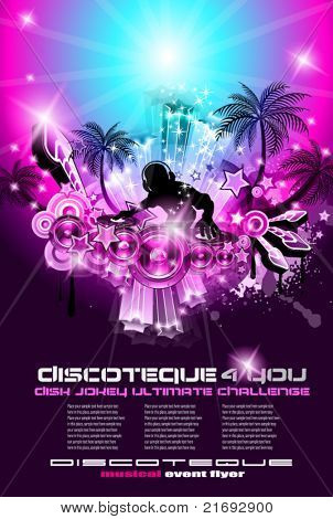 Suggestive musical themed discoteque  flyer for night party or disk jokey exhibitions or console challenge event.