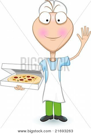 Boy Chef Showing A Delicious Pizza
