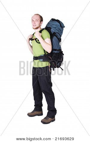 Tourist With Big Backpack Standing Isolated