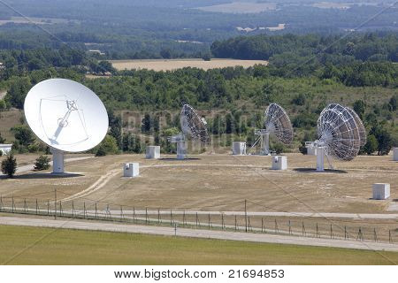 Radio Antenna Dishes In Southern France