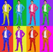 Collage with eight men in different bright suits on colors, collage poster