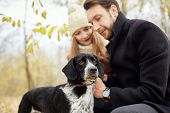 Couple Walking With Dog In The Park And Hugging. Autumn Walk Men And Women With A Dog. Romance And L poster
