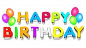 image of happy birthday  - An illustration colorful 3d Happy birthday text - JPG