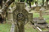 picture of funeral home  - grave stone write in never forgotten - JPG