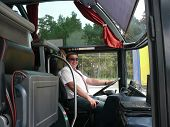 foto of bus driver  - The young bus driver on the roads of Lithuania - JPG