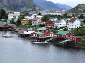 Lofoten Townscape In Norway poster