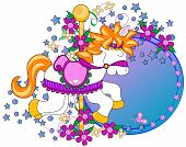 stock photo of carousel horse  - Carousel horse graphic with flowersstars and copy space over a white background - JPG