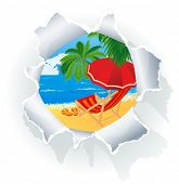 stock photo of beach party  - Paradise beach through paper hole - JPG