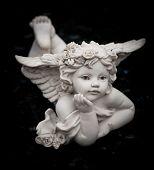 stock photo of cherub  - Sculpture at a Melbourne cemetery - JPG