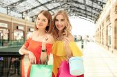 Beautiful women with shopping bags at strip mall poster