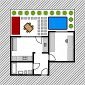 vector house floor plan with garden