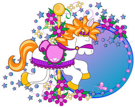 picture of carousel horse  - Carousel horse graphic with flowersstars and copy space over a white background - JPG