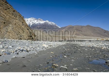 Riverbed In Himalaya Mountains