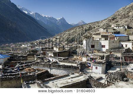 Himalayan Village In Nepal