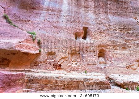 Niches, Shrines And Carvings In Wall Of Siq, Petra