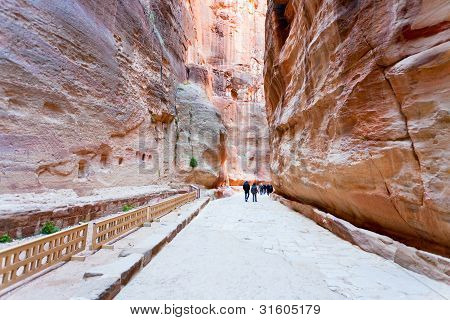 Way Through Siq Gorge To Stone City Petra,