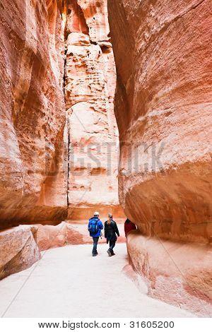 Path Through The Gorge Siq To Antique City Petra