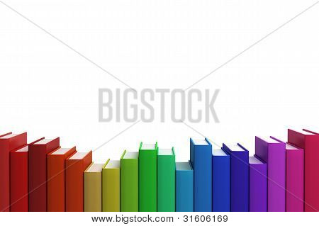 Close Up Row Stack Of Colorful Books On White Background, Front View