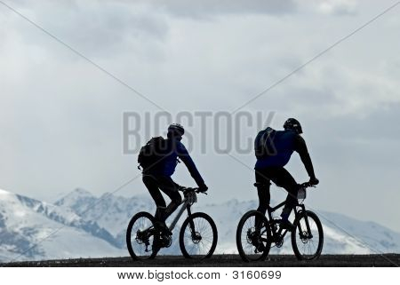 Silhouette Two Mountain Bikers