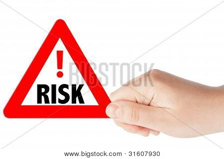 Triangular Risk Signs With Hand