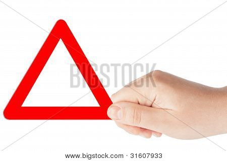 Triangular Signs With Hand