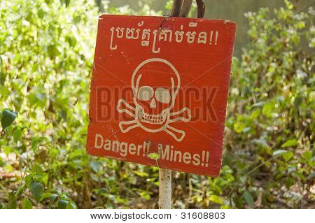 Cambodian landmine warning sign