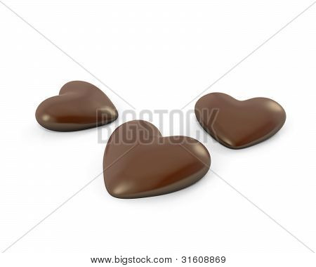 Thre Heart Shaped Chocolate Candies