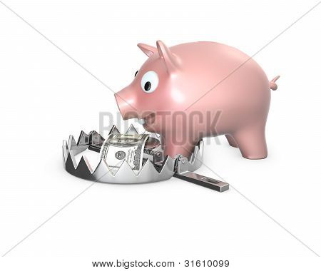 Piggy Bank In A Bear Trap