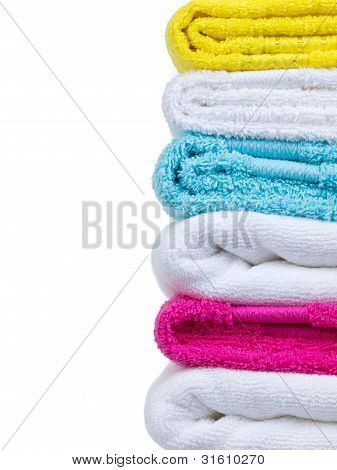 Fresh Towels Stack Closeup Side View