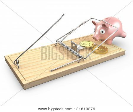 Piggy Bank Caught In A Mouse Trap