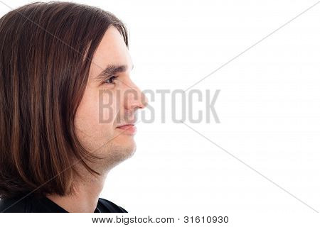 Profile Of Young Relaxed Man Face Smiling