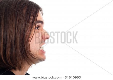 Profile Of Angry Man Face