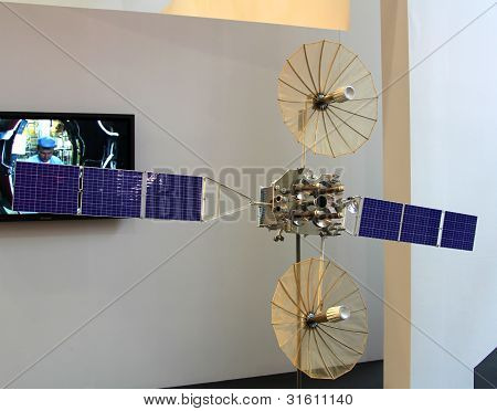 Hannover, Germany - March 10: The Russian Satellite On March 10, 2012 At Cebit Computer Expo, Hannov