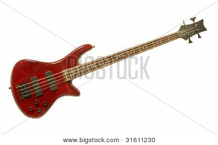 Red Bass Guitar Against White