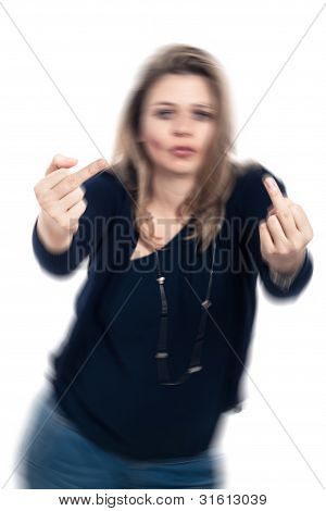 Intoxicated Rude Woman Gesturing